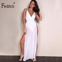 Beetone Chiffon Beach Dress Plus Size Boho Maxi Dress Sleeveless V Neck White Party Desses Bodycon