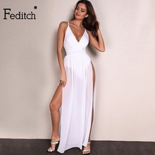 Feditch Chiffon Beach Dress Hot Sale Boho Maxi Dress Sleeveless V Neck White Party Desses Bodycon Women Sundress Vestido