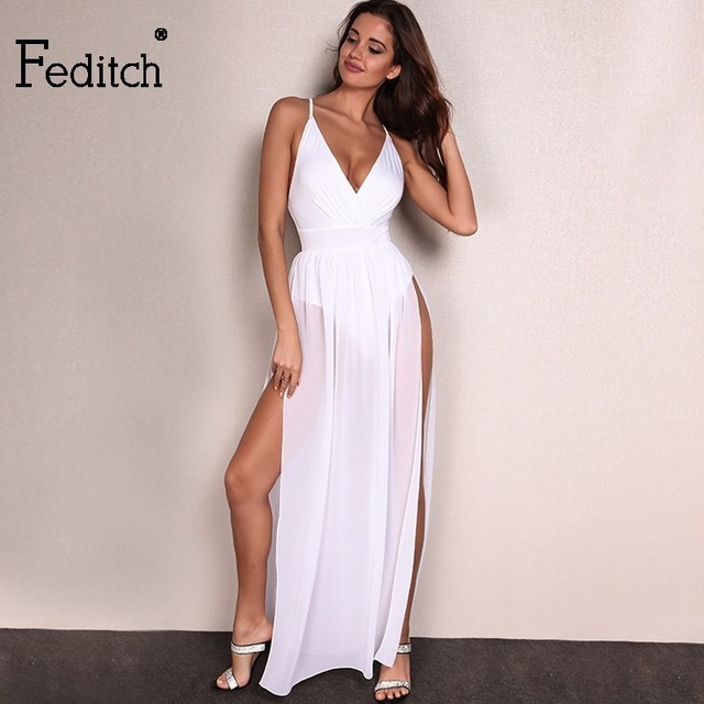 e83c8ad5aa Feditch Chiffon Beach Dress Hot Sale Boho Maxi Dress Sleeveless V Neck  White Party Desses Bodycon Women Sundress Vestido