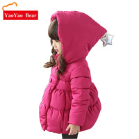 New Kids Winter Jacket For Girl Thick Warm Hooded Children Outwear Coat Fashion Baby Girls Parka Jackets 2 7Y Princess Top
