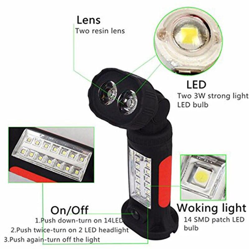 Portable 16 LED lampe de Poche Lumineux 360 Rotation Main Torche Tente Crochet Suspendus Travail Lanterna Lumière Lampe lampes de Poche AAA batterie