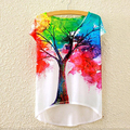 Moda mujer Casual Rainbow Tree Impreso Suelta de Manga Corta Camiseta de La Camiseta Superior