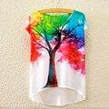 Women's Fashion Casual Rainbow Tree Printed Loose Short Sleeve T-Shirt Tee Top