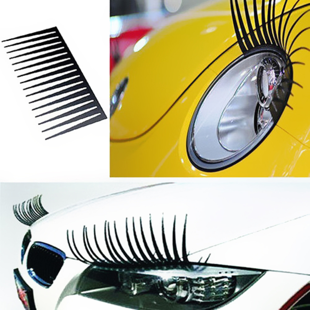 2Pcs Cute Lovely Car Headlight Eyelash Sticker 3D Decoration Truck Lighting Auto Decals Car Styling Exterior Accessories