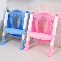 Foldable Children Potty Seat With Ladder Cover PP Toilet Adjustable Folding Chair Pee Training Urinal Seating