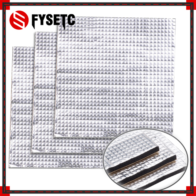 1PC 200/300mm Foil Self-adhesive Insulation Cotton Heat Insulation Cotton 10mm Thickness 3D Printer Heating Bed Sticker For Tevo