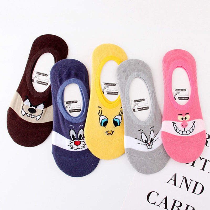 Cartoon Character Cute Cotton Women's Socks Duck Tweety Sylvester Bugs Bunny Panther Invisible Socks Looney Tunes No Show Socks