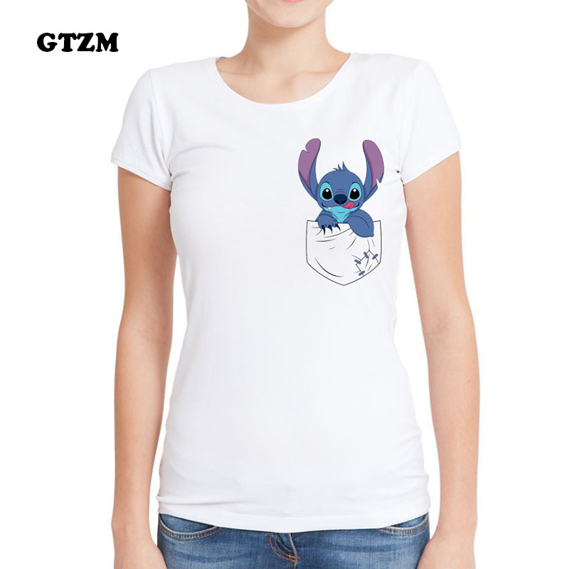 GTZM T Shirts Women POKEMON Ball T-shirt Summer 2017 Tee Tops Cartoon Stitch Alien Clothing T-shirt for Female Clothes tshirts
