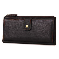 Top Quality leather long wallet unisex purse clutch zipper travel wallets