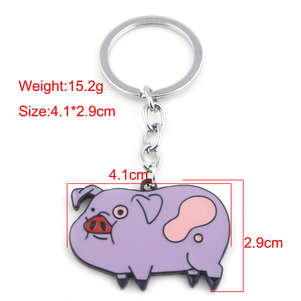 61a2cea5d9ebc0 Hot Anime Gravity Falls Cute Pig Keychain Pink and Purple Pig Dolls ...