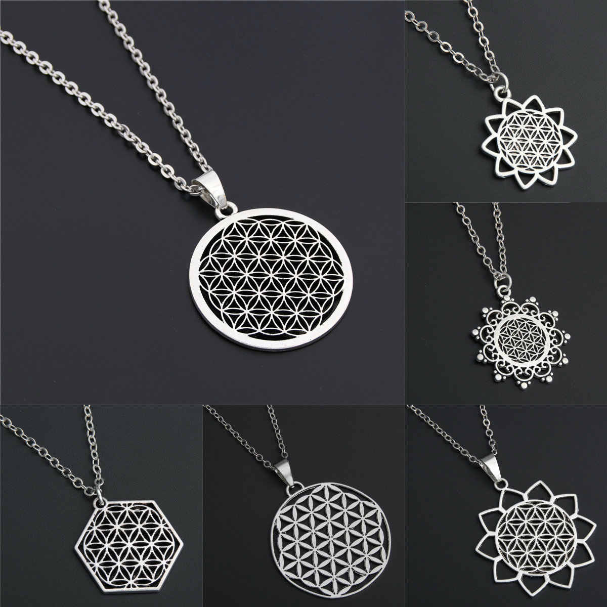 1pc Dropshipping Seed Of Life Pendant Flower Of Life Necklace  Jewelry Sacred Geometry Women Accessories Birthday Gift