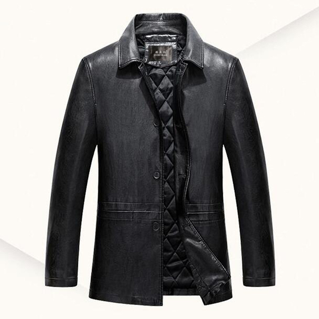 2016 autumn and winter new PU leather blazer men long middle-aged men's business casual jacket male coat Dad clothing