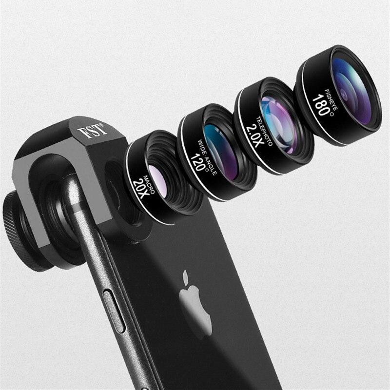 Universal 4 in 1 Wide Angle Macro Fisheye Lens Camera Mobile Phone Lenses Fisheye Lenses For iPhone Smartphone Accessories