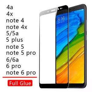 Caso en Ksiomi Redmi Note 6 Pro 6a 5 Plus 5a 4x4 4a 7 X cubierta pegamento de vidrio templado para Xiaomi Redme Remi 6pro 5 plus Note5