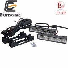 Eonstime 2cps 12 В/24 В осветительный светодиодный дневные ходовые огни DRL 6000K Ультра-низкое энергопотребление 4 светодиодный 5050 ABS+ хост-жгут