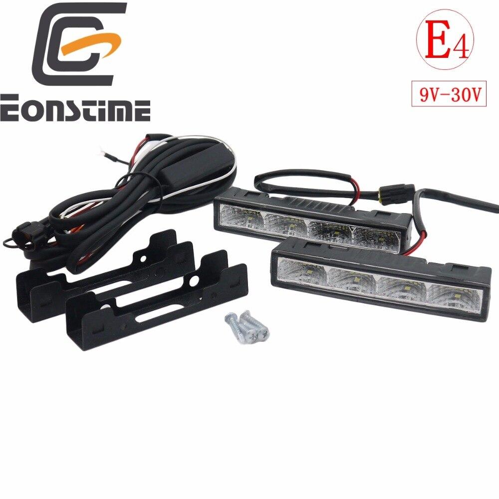 Eonstime 2cps 12 v/24 v destaque led luzes diurnas drl 6000 k ultra-baixo consumo de energia 4led 5050 abs + arnês de anfitrião