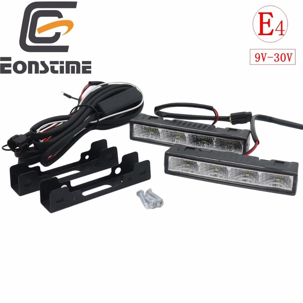 Eonstime 2cps 12 v/24 v Highlight LED Tagfahrlicht DRL 6000 karat Ultra-low Power Verbrauch 4LED 5050 ABS + Host Harness