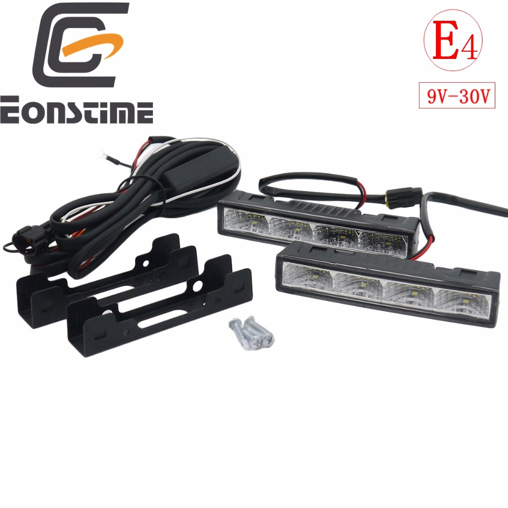 Eonstime 2cps 12 V / 24 V Sorot LED Daytime Running Lights DRL 6000K Konsumsi Daya ultra-rendah 4LED 5050 ABS + Host Harness
