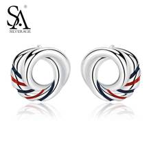 цена SA SILVERAGE 925 Sterling Silver Europa Stud Blue Red Earrings for Women Fine Jewelry 2019 New Arrivals Earings Fashion Jewelry онлайн в 2017 году
