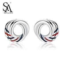 SA SILVERAGE 925 Sterling Silver Europa Stud Blue Red Earrings for Women Fine Jewelry 2019 New Arrivals Earings Fashion