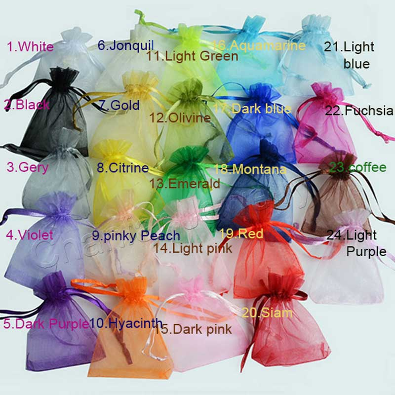 100pcs 24 Colors Jewelry Bag 5*7 7*9  9*12  10*15cm Wedding Gift Organza bag Jewelry Packaging Display & Jewelry Pouches 2