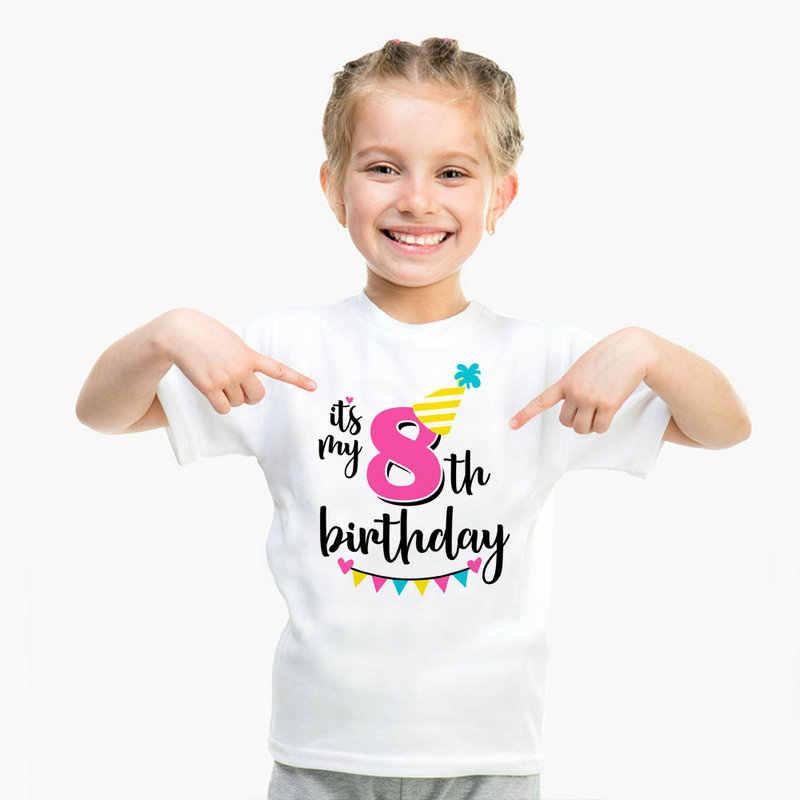 แขนสั้นเด็กชายวันเกิดแฮปปี้ tshirt First จำนวน 1 2 3 4 5 6 7 8 9 ปีวันเกิด Boy เสื้อผ้าเด็กวัยหัดเดิน 1st หญิงเสื้อ