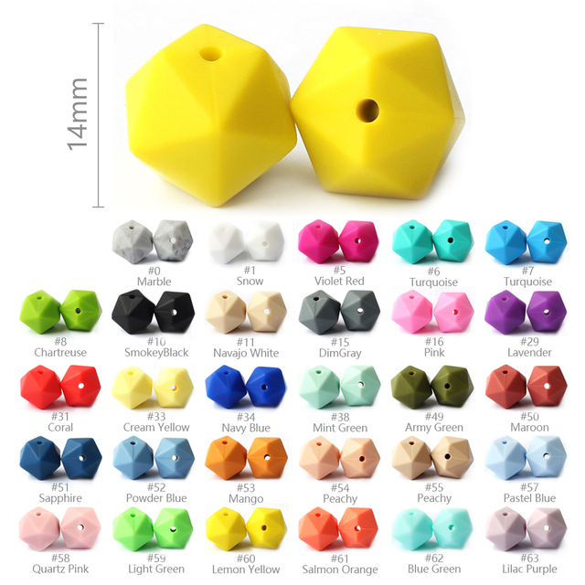 10Pcs 14mm Icosahedron Silicone Beads Food Grade Baby Teething Beads BPA Free Baby Teethers For Baby Pacifier Chain Making