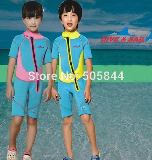 ФОТО 2.5mm Neoprene Kids children's Scuba & snorkeling suit wetsuits Keep warm Scuba Short sleeve Diving Suit Free Shipping