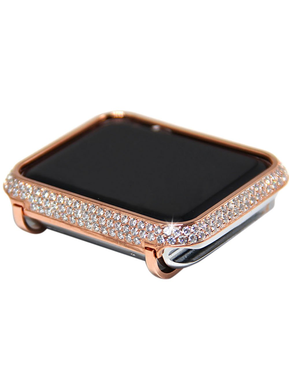 Luxury Diamond Case+strap For Apple Watch band 44mm 40mm 38mm 42mm cover iWatch Series 4 3 2 1 Stainless Steel bracelet women-in Watchbands from Watches    2