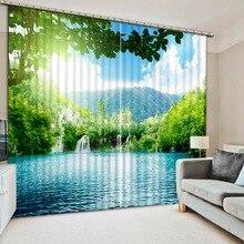 На заказ любой размер 3D занавеска для балкона окно озеро природа лес фото печать 3d занавеска украшение дома спальни