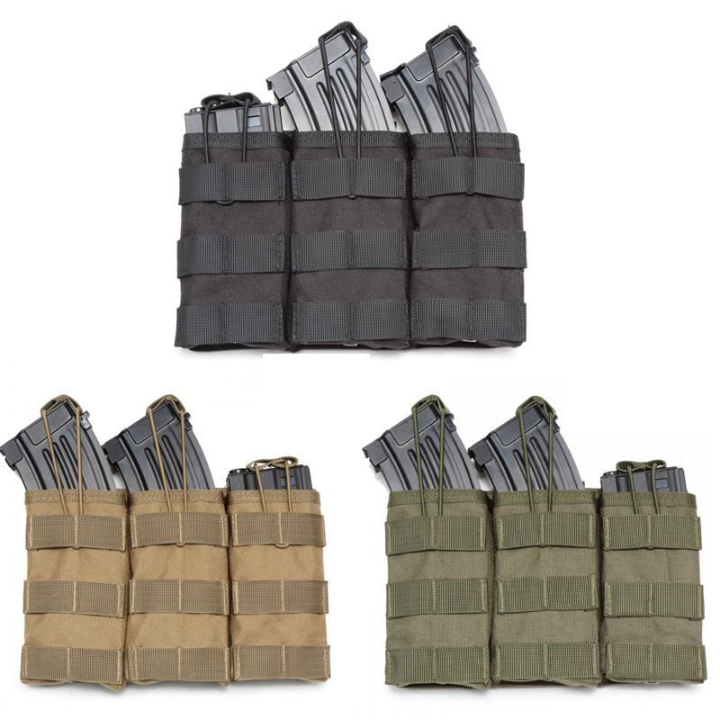 Tactical Single / Double / Triple Molle <font><b>Magazine</b></font> Pouches Military Army Vest Accessories Bag Open Top Cartridge Pouch image