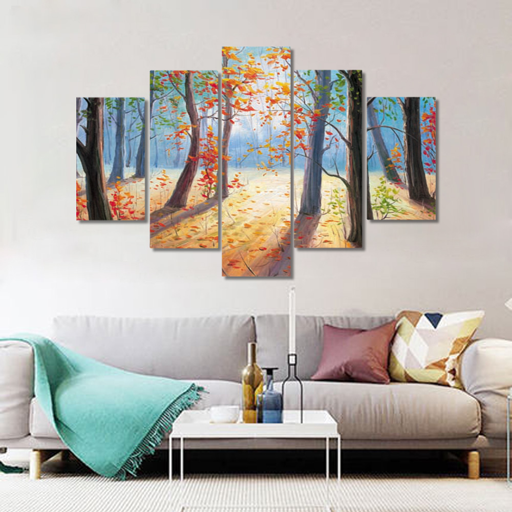 Unframed 5 HD Canvas Prints Forest Red Leaves Giclee Modular Picture Prints Wall Pictures For Living Room Wall Art Decoration