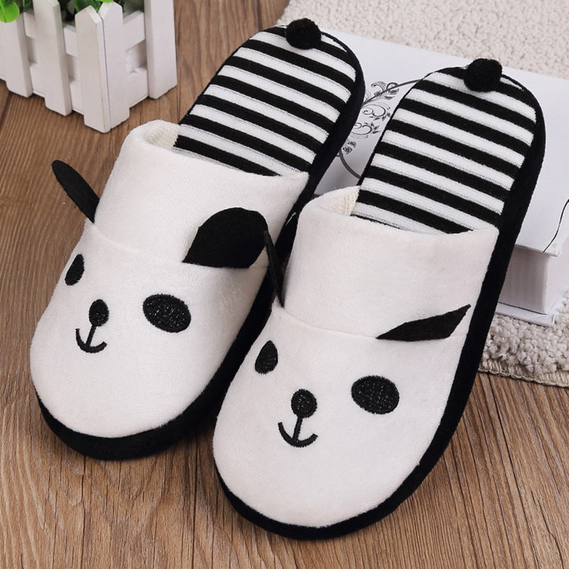 Women Cotton Warm Home Slippers Autumn Winter Non Slip Cute Cartoon Panda Indoor Soft Slippers Shoes Flats Female Slides unisex autumn winter warm soft home non silp pure color slippers indoor shoes cotton padded shoes soft women indoor slippers