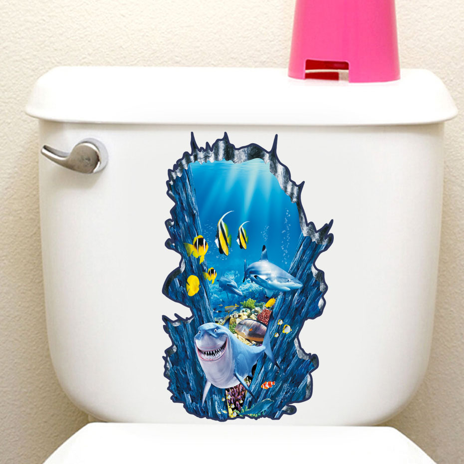 Underwater Fish 3D Toilet Bathroom Sticker Waterproof Home Decoration Refrigerator Swimming Pool Decals