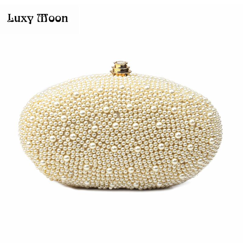 Luxy Women's Embroidered Pearls Dinner Purse Handmade Beaded Clutch Evening Bag Beading Shoulder banquet bag mini messenger bags rhinestone flower embroidered evening bag