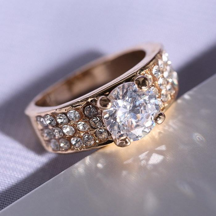 women wedding rings crystal Ring beautiful gold Ring for Brides Engagement Rings Girl Birthday Party Gifts Fashion Jewelry