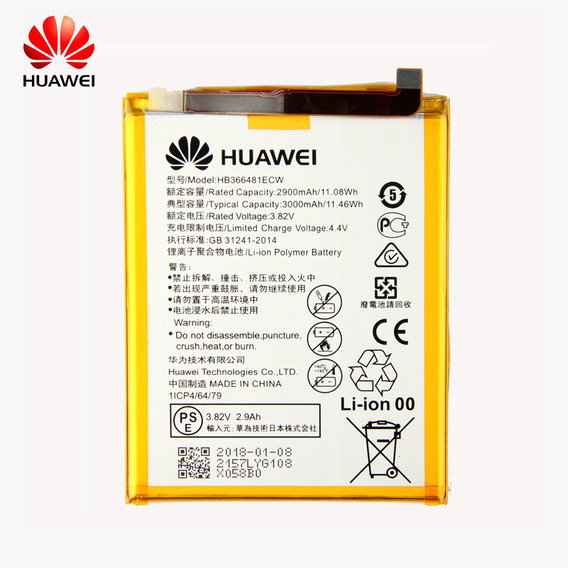D'origine Huawei HB366481ECW téléphone batterie Pour Huawei P9 Ascend P9 Lite G9 honor 8 honor 5C G9 EVA-L09 honor 8 lite 2900 mah