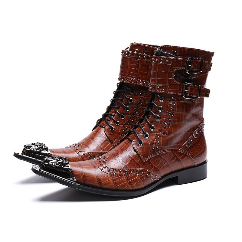 Der Echtem Männlichen Mode Männer Leder Stiefel Aus Atmungs Spitz Schuhe Aufzug Niet Trend H0ZPq40