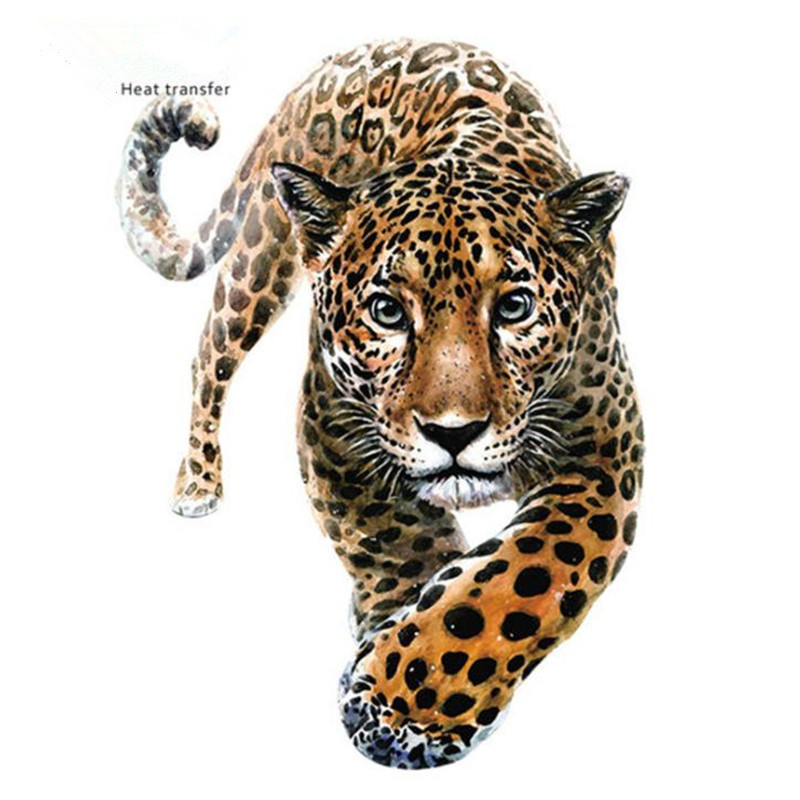 Animal Street Icon Women Men Clothes 249mm Leopard Iron On Transfer Printing Patches For Clothing T-Shirt Patch Diy 3D Stickers