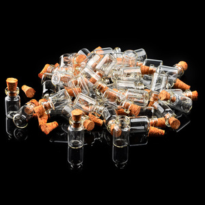 Hot Sale 50Pcs 0.5ml Small Clear Glass Wish Bottle Jar Vials Empty Jars with Cork Stopper Wedding Holiday Decor Christmas Gifts