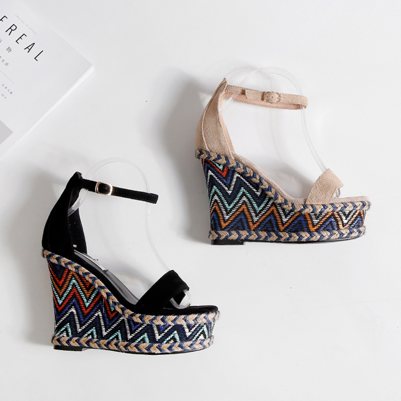 WETKISS Ankle Strap High Heels Women Sandals 2019 Fashion Ladies Platform Summer Shoes Open Toe Cow Suede Ethnic Wedges Footwear in High Heels from Shoes