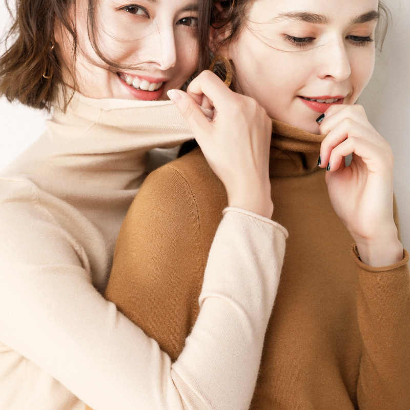 Envío gratuito nuevo suéter de Cachemira 100% de mujer casual de manga larga suéter de cobertura grueso Otoño e Invierno suéter Mujer