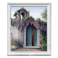 Needlework DMC Cross Stitch painting Counted embroidery Kits 14CT unprinted pattern purple flower handCrafts Ravello scenery 4