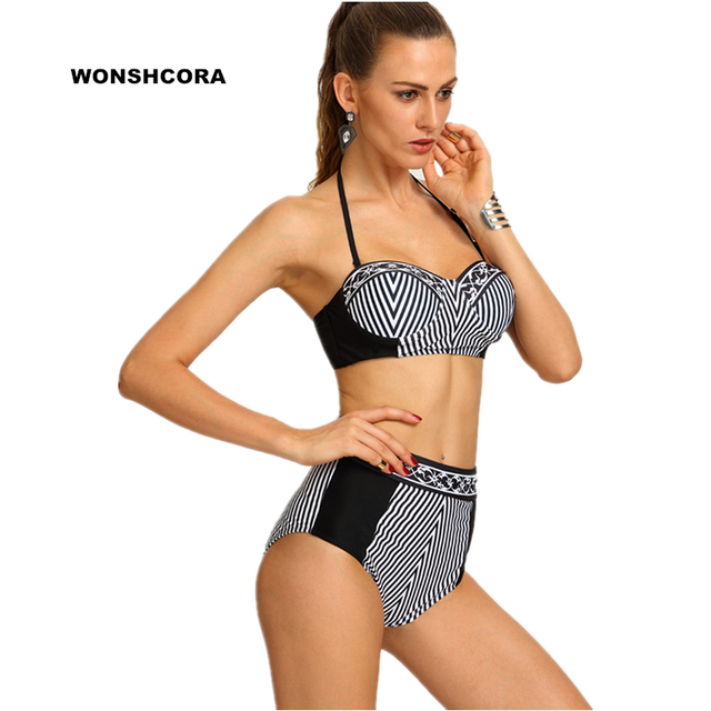 735d7a11b8a0b 2017 New Black White Stripes High Waist Sexy Women Bikini Set Two Pieces  Women s Swimming Suit Sunbathing Swimwear Swimsuit