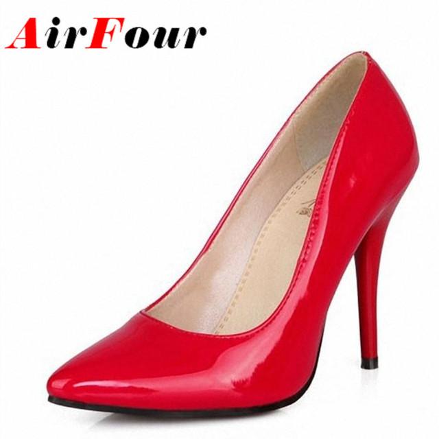 Airfour 7 Colores Mujeres Stiletto Zapatos de Tacón Alto Del Dedo Del Pie Puntiagudo Sexy Moda de La Boda Sexy Bombas de la Plataforma Talones de Gran Tamaño 34-44