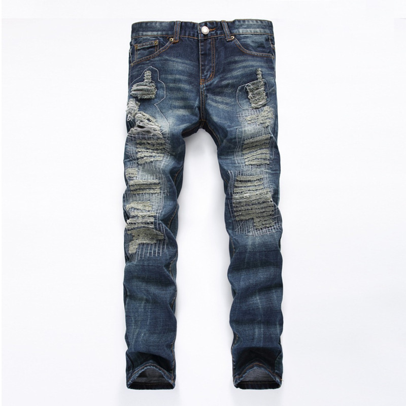 NEW Distressed Patchwork Men Jeans Scratched Biker Jeans Hole Ripped Denim Straight Slim Fit Casual Cotton Moto Pants new fashion mens patchwork straight trousers men distressed ripped jeans brand scratched biker jeans denim slim fit casual pants