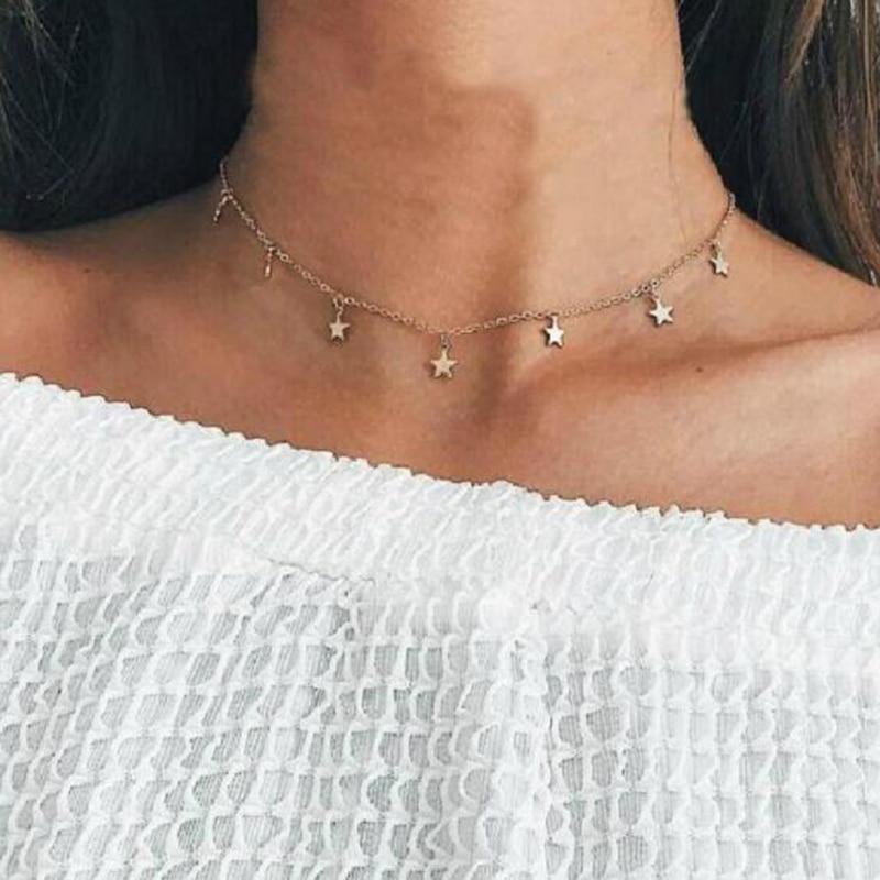 Stella dei monili di modo di luna choker della collana bel regalo per le donne della ragazza Dei Monili collana Kolye Bijoux Collares Mujer Collier Femme x36