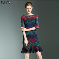 TUHAO Vintage Retro Nữ Pencil Dress Slim Bodycon Slash Ruffles cổ Ren Hoa Thời Trang Sexy Ladies midi Dresses LN77