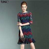 TUHAO Vintage Retro Female Pencil Dress Slim Bodycon Slash Neck Ruffles Lace Floral Fashion Sexy Ladies