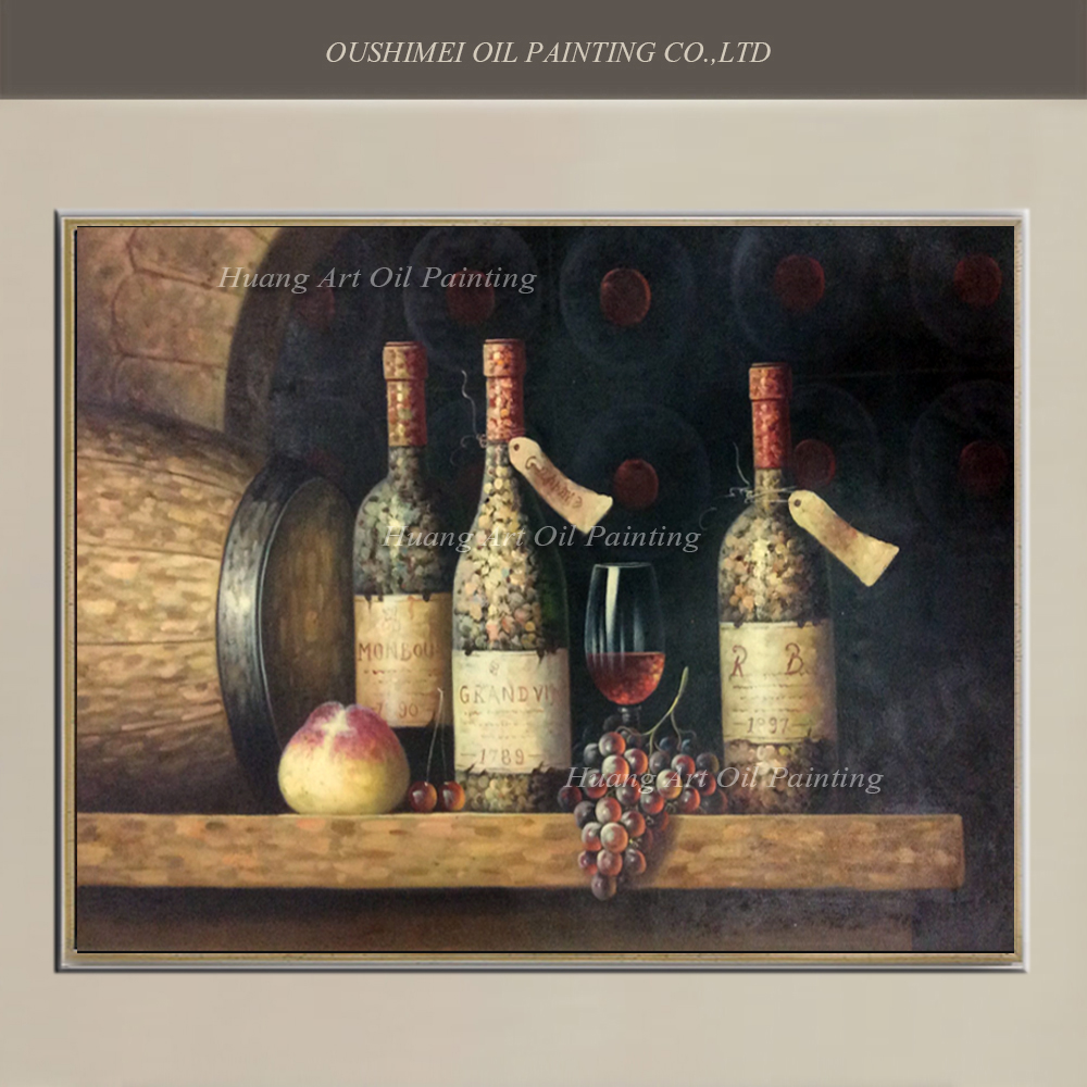 2017 Wall Art Fruit Grape Red Wine Glass Picture Art For: Hand Painted Classical Oil Painting Wall Decor Red Wine